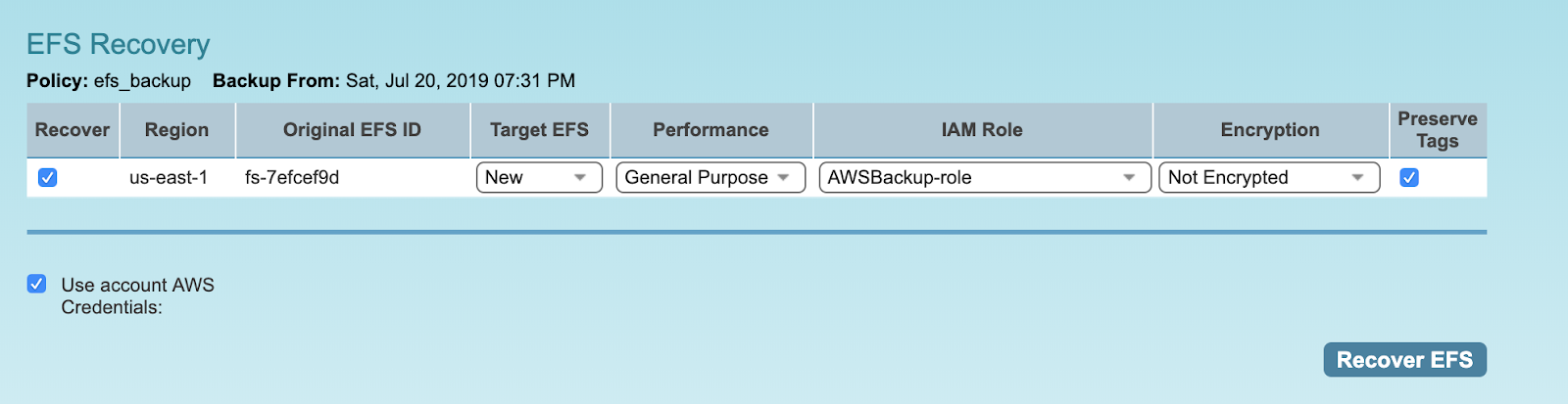 AWS EFS Backup and Recovery
