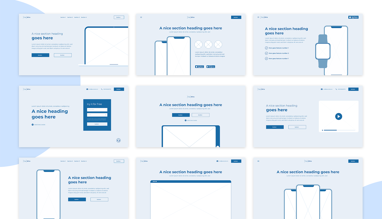 Sample assets from the FreeWire wireframing kit.