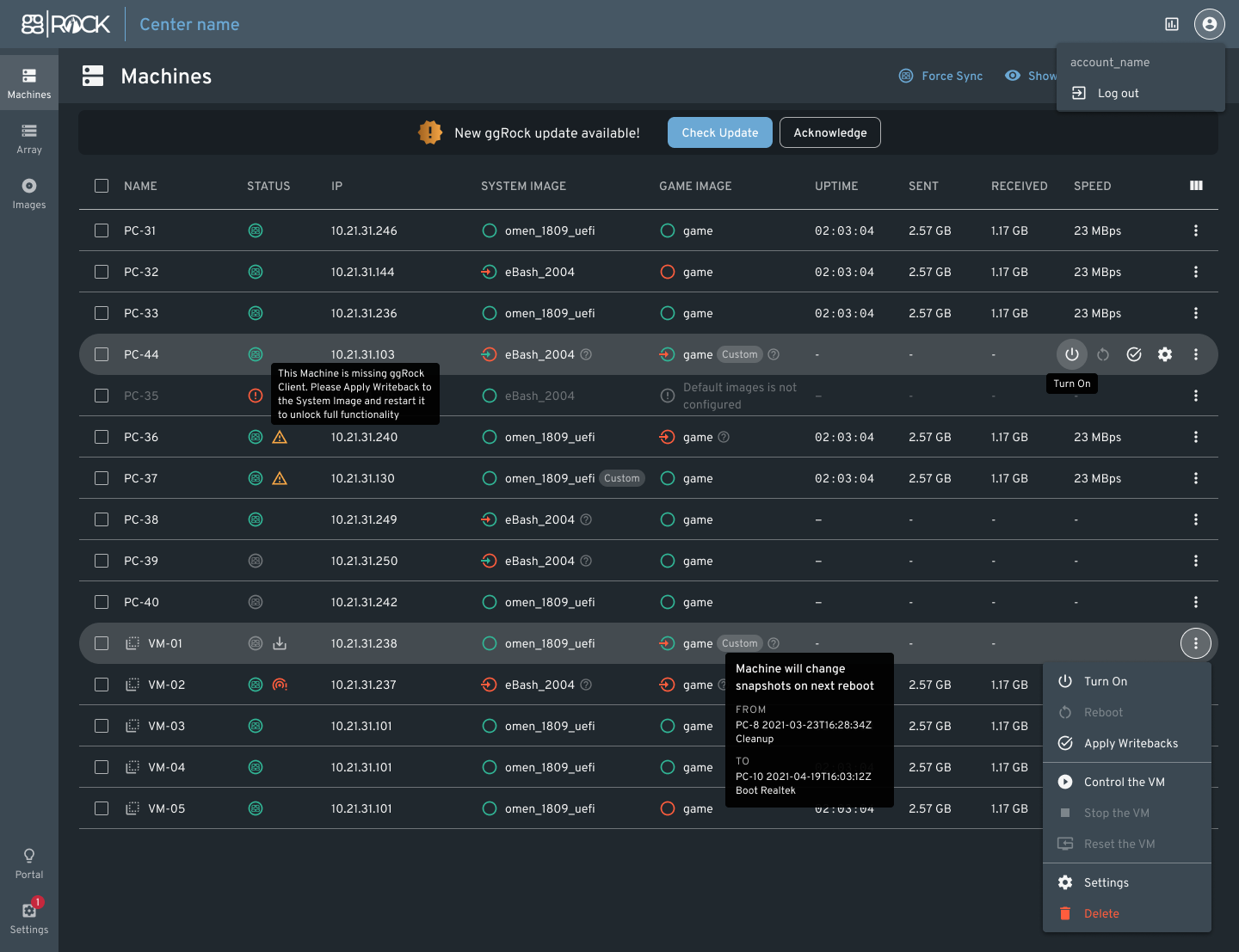 Latest user interface applied to ggRock 1.0