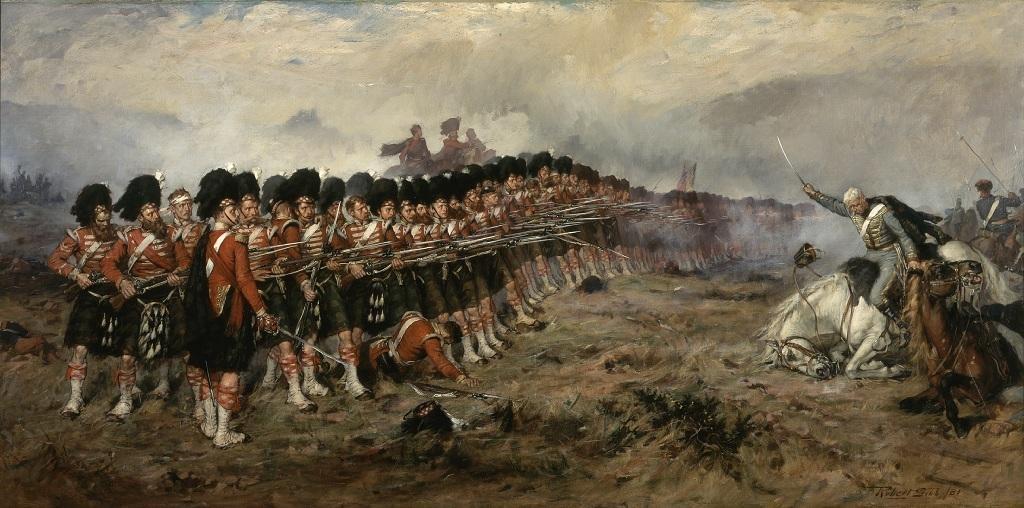 93-й шотландский полк сдерживает атаку русской кавалерии. Тонкая красная линия, полотно Роберта Гибба, 1881 год / DR