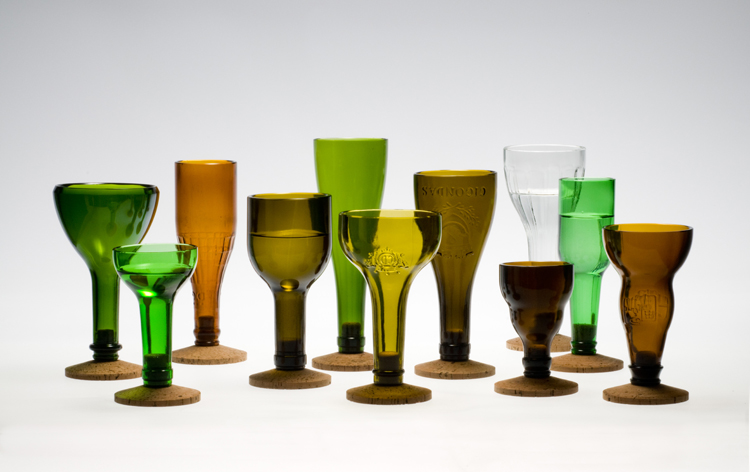 set of wine goblets from recycled wine bottles symmetry again