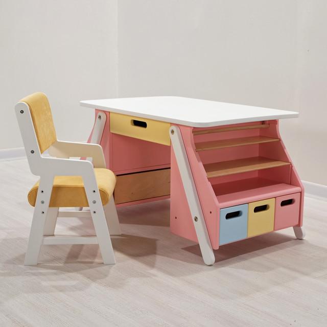 Детский столик для творчества розовый с белой столешницей