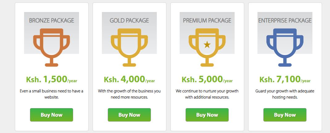 Safaricom Web Hosting pricing