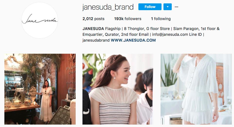 janesuda brand インスタグラム タイ
