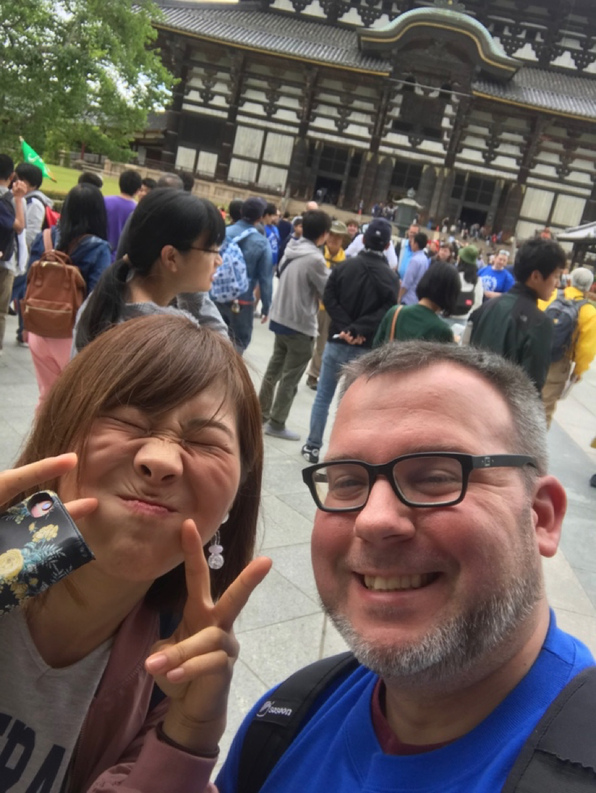 author David taking a selfie with a Japanese student