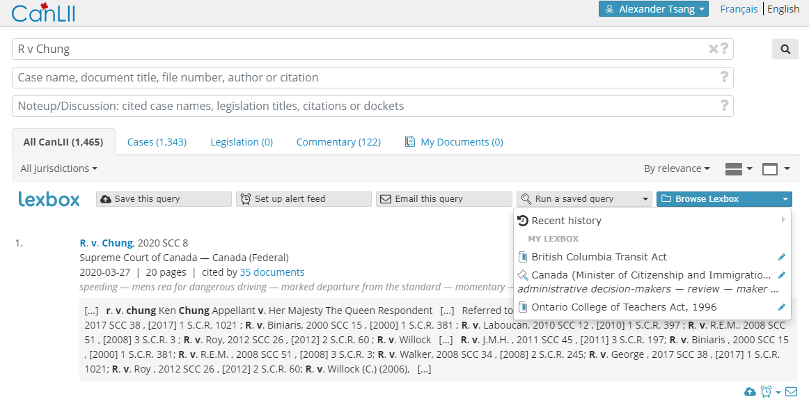 Screenshot displaying a Lexbox-connected CanLII search with the 'Browse Lexbox' dropdown menu opened.