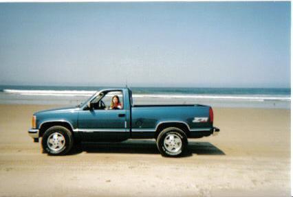 Mia in her 1992 GMC Sierra K1500