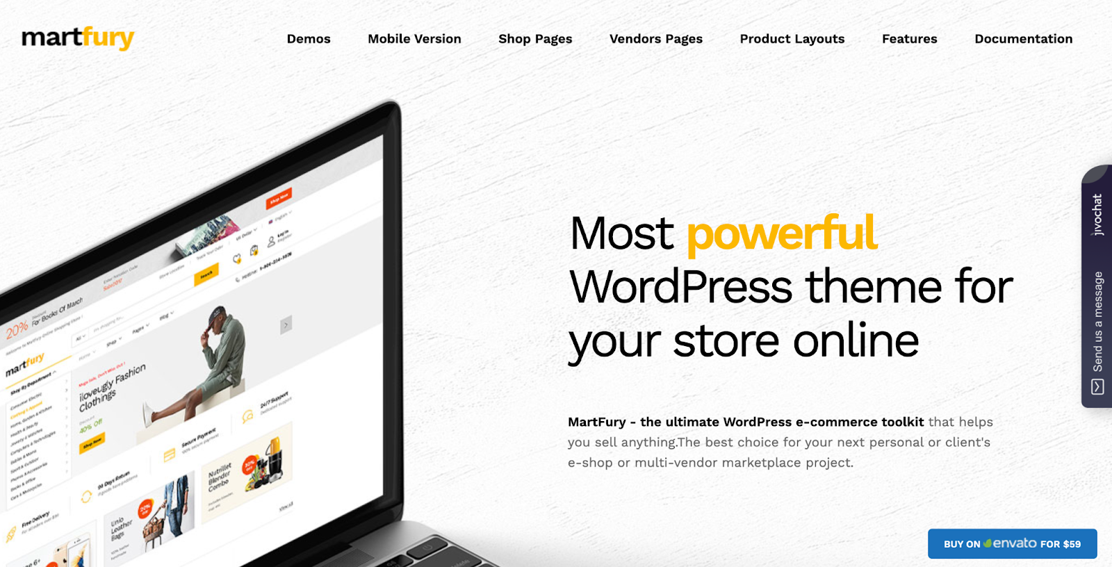 Martfury WordPress Marketplace theme homepage featuring the tagline, computer screen, and example of the the theme layout