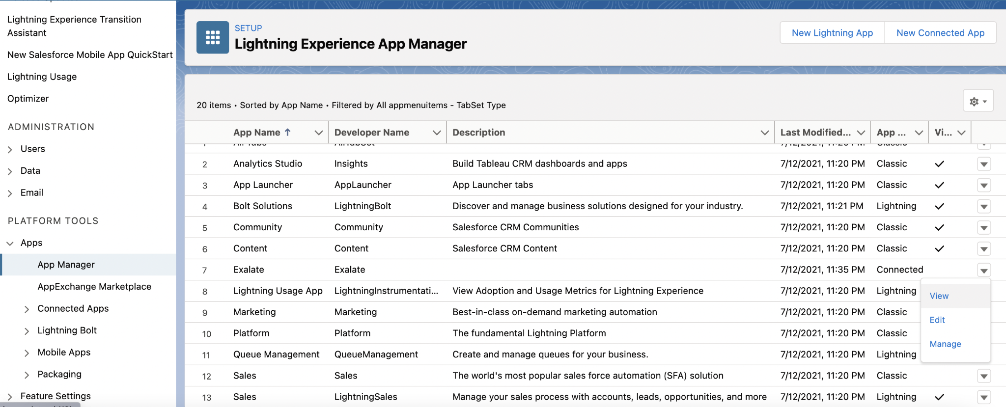 salesforce lightning app manager