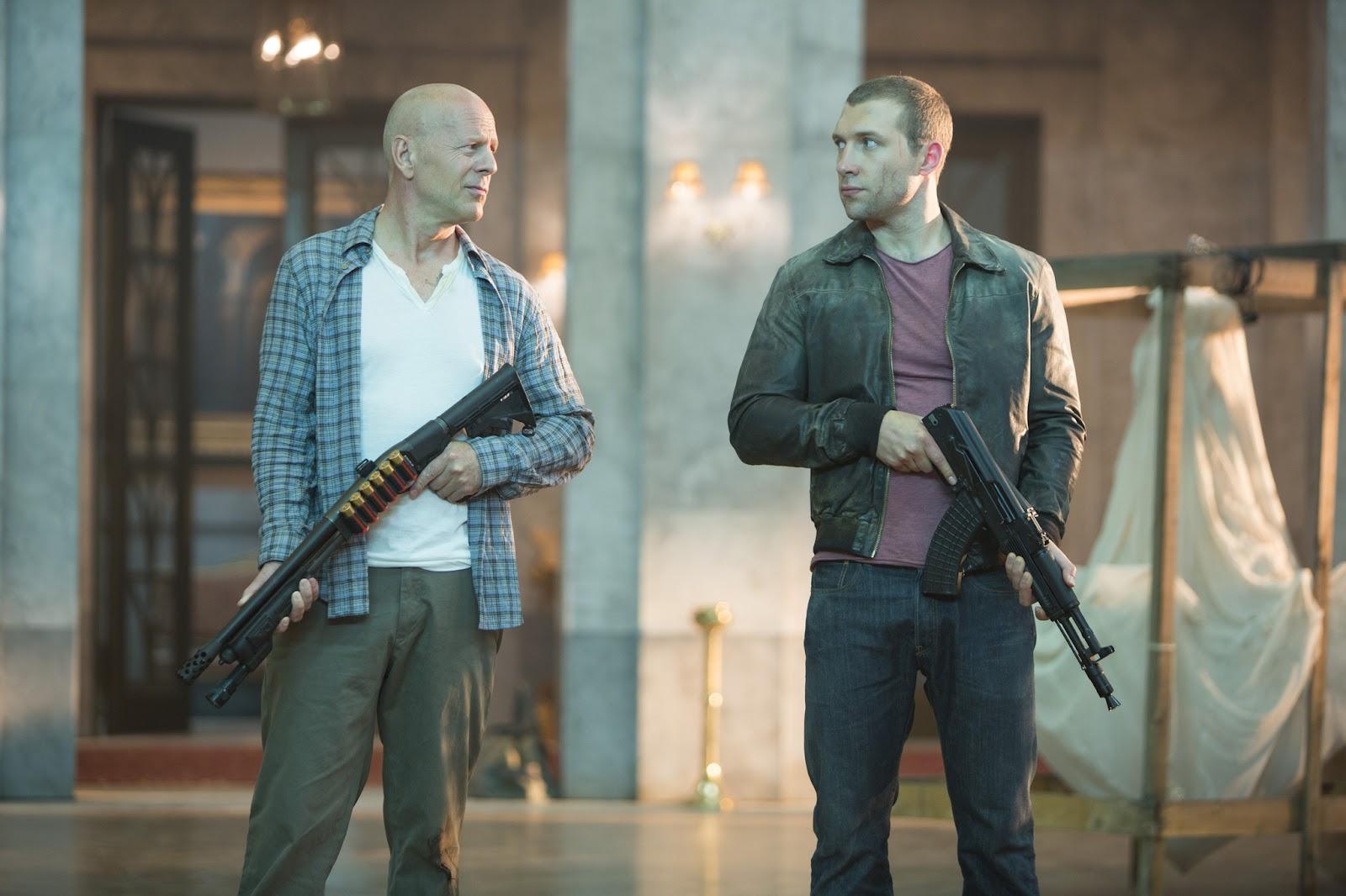 John McClane (Bruce Willis) and John McClane Jnr (Jai Courtney) team up in A Good Day to Die Hard