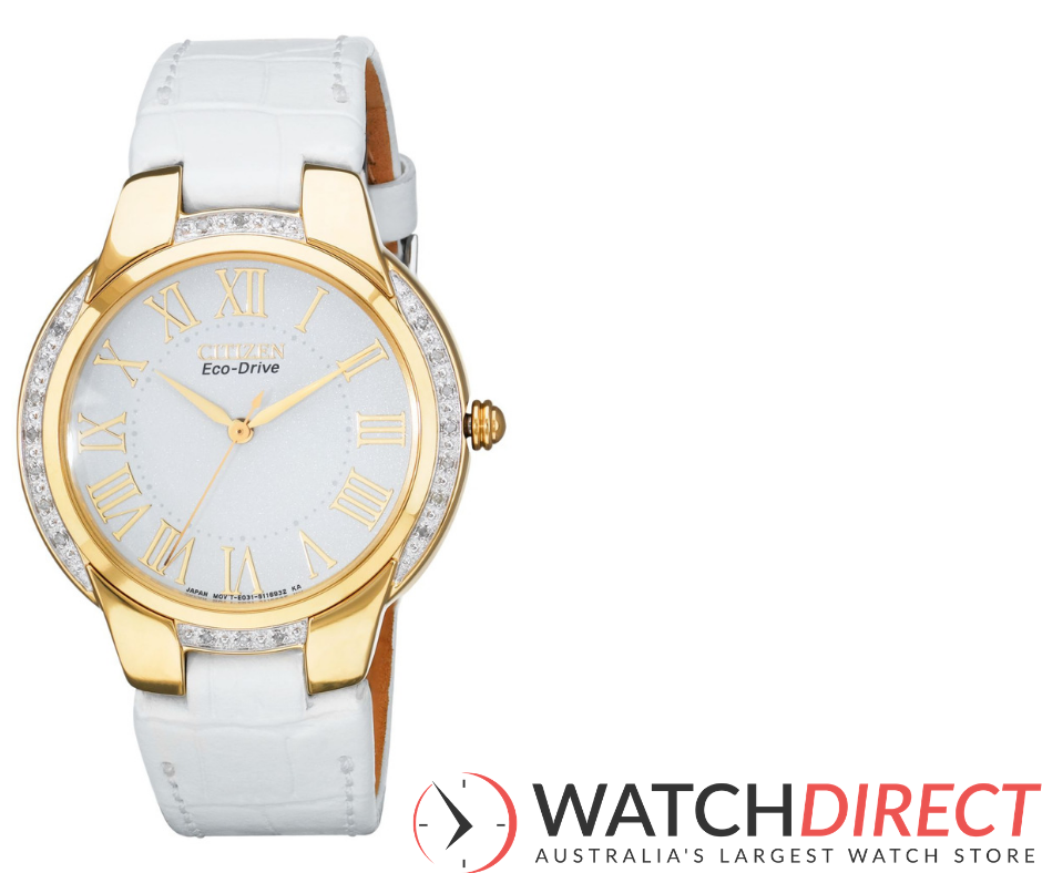 She drinks Moet & Chandon in a pretty cabinet… say bonjour to the Citizen Eco-Drive Ciena Leather Strap.