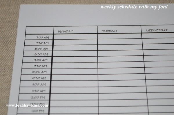 weekly schedule with my font