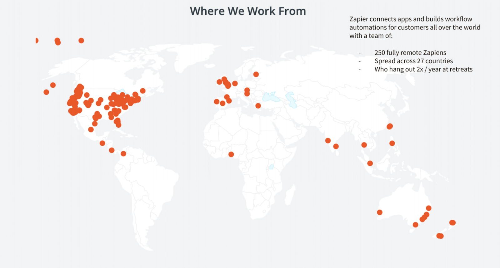 Graphic depicting where workers at Zapier work from.