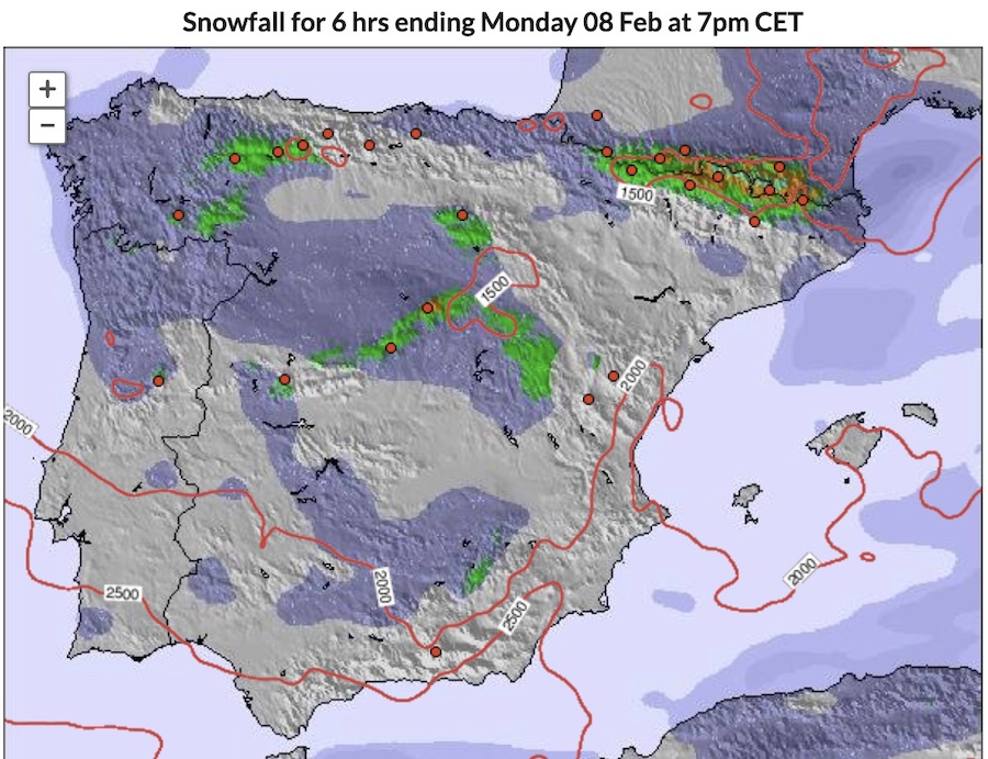 areal map of snowfall in a day in February