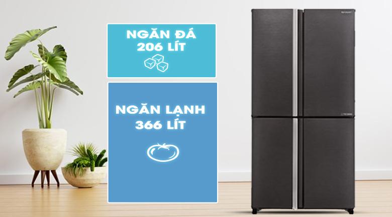 Tủ lạnh Sharp Inverter 572 lít SJ-FX640V-SL - Phù hợp cho gia đình trên 5 người