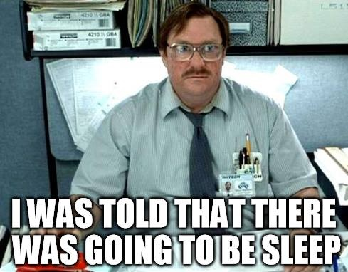 An employee complaining about lack of sleep