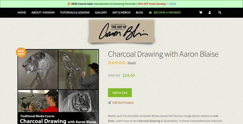 Aaron Blaise is a painter, animator, and film director. His official website, Creature Art Teacher, hosts a variety of courses, including Charcoal Drawing.
