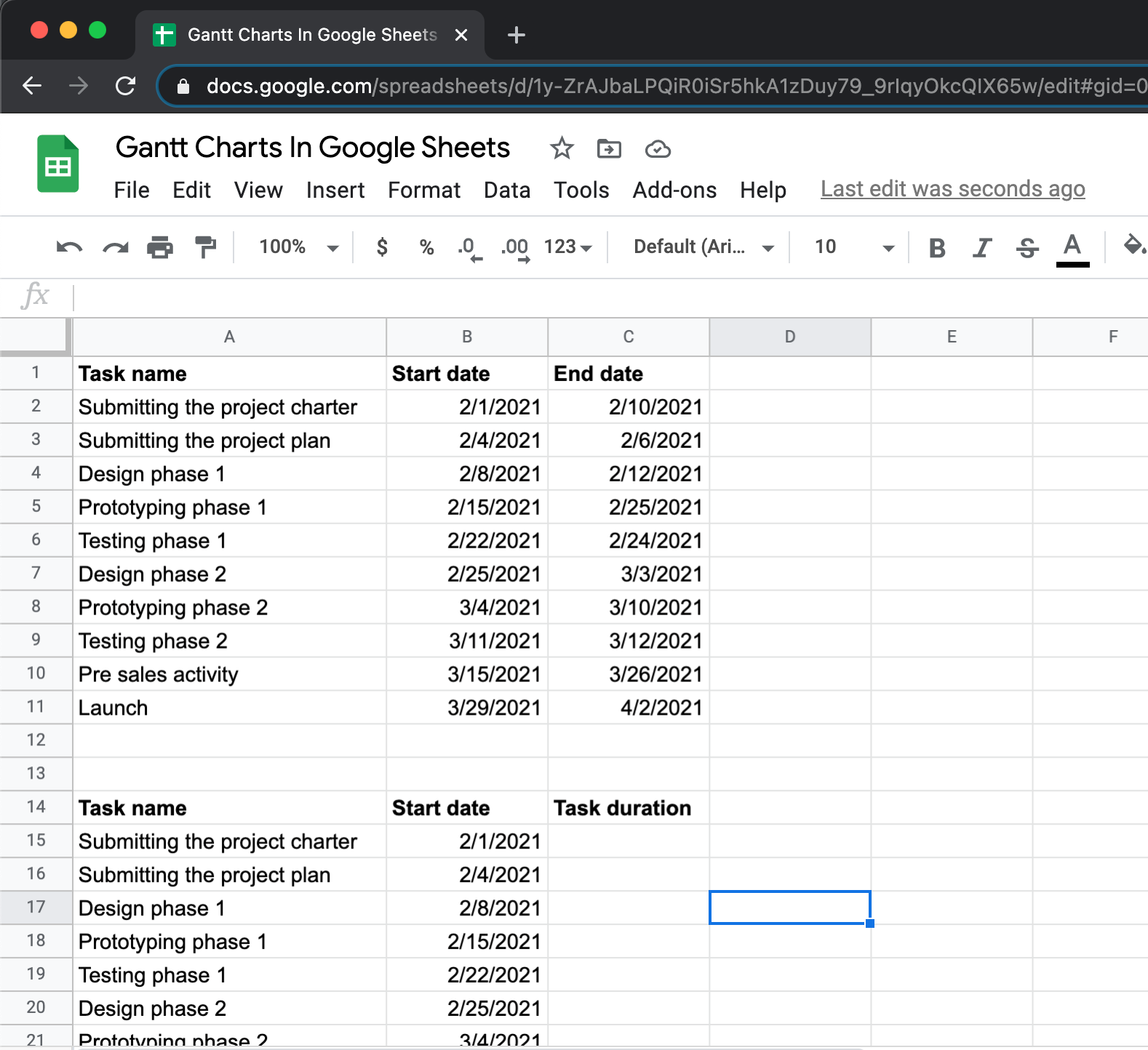 Calculate task durations in google sheets