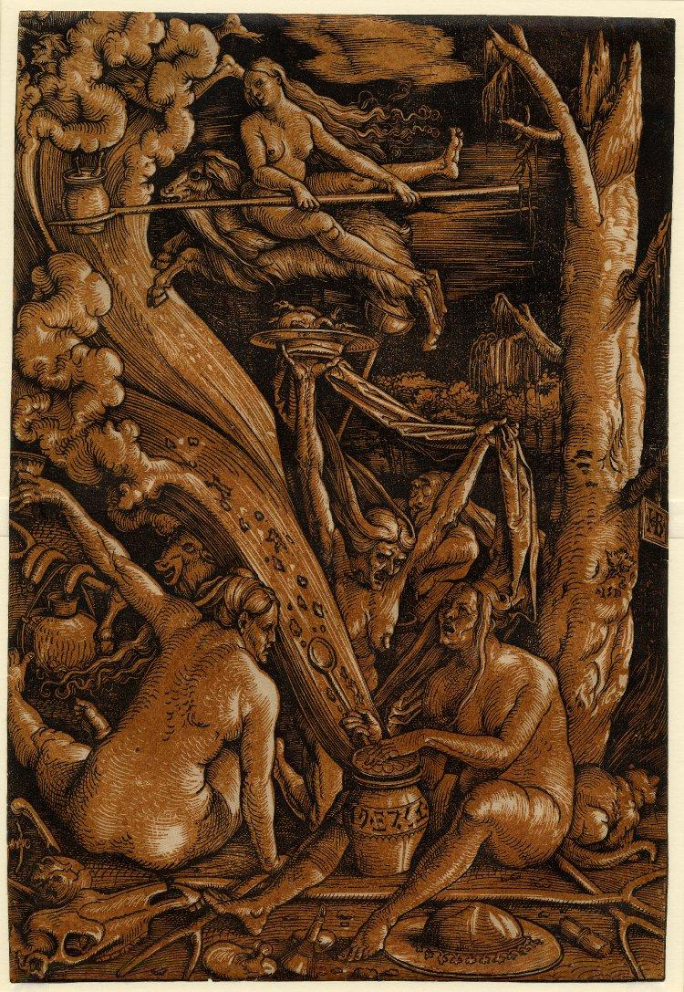 The Witches' Sabbath.  1510 Colour woodcut from two blocks, tone block orange-brown