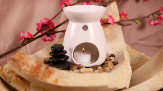 Photo of a small candle warmer with a branch and berries beside it.