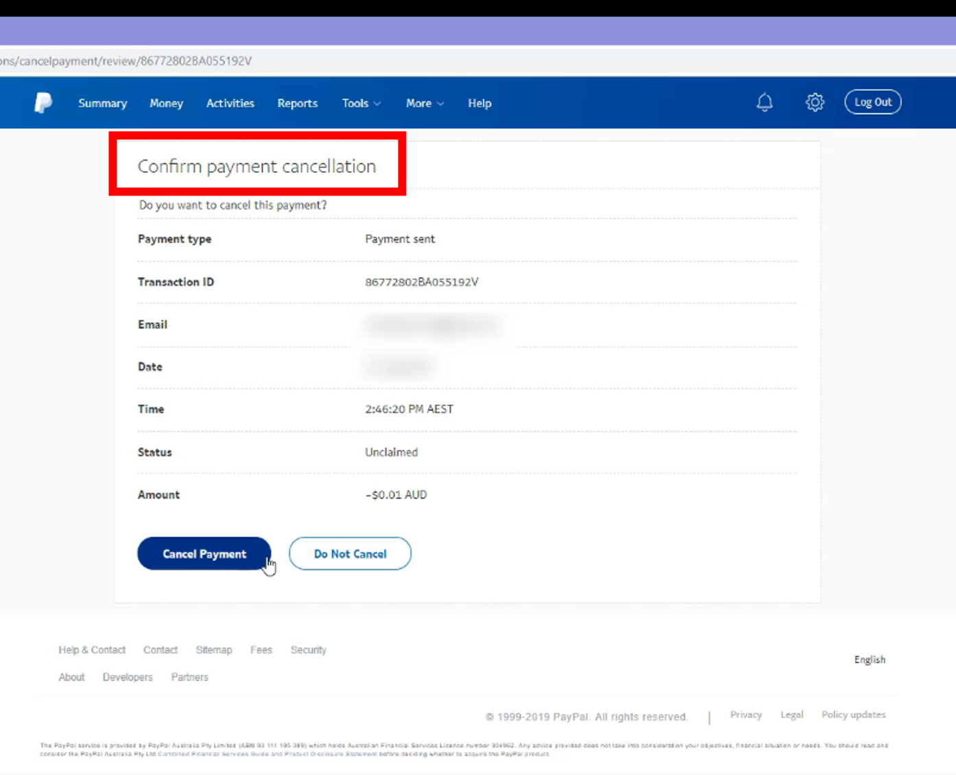 How to Cancel an Unclaimed Paypal Payment?