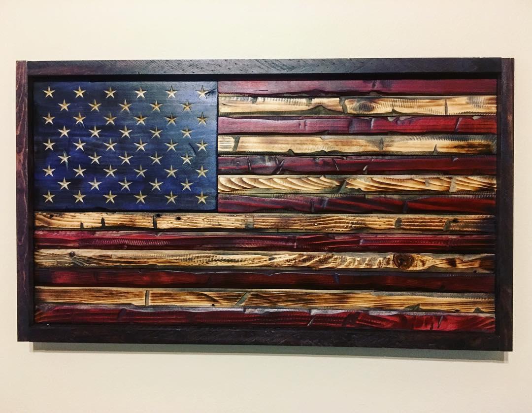 american flag woodwork