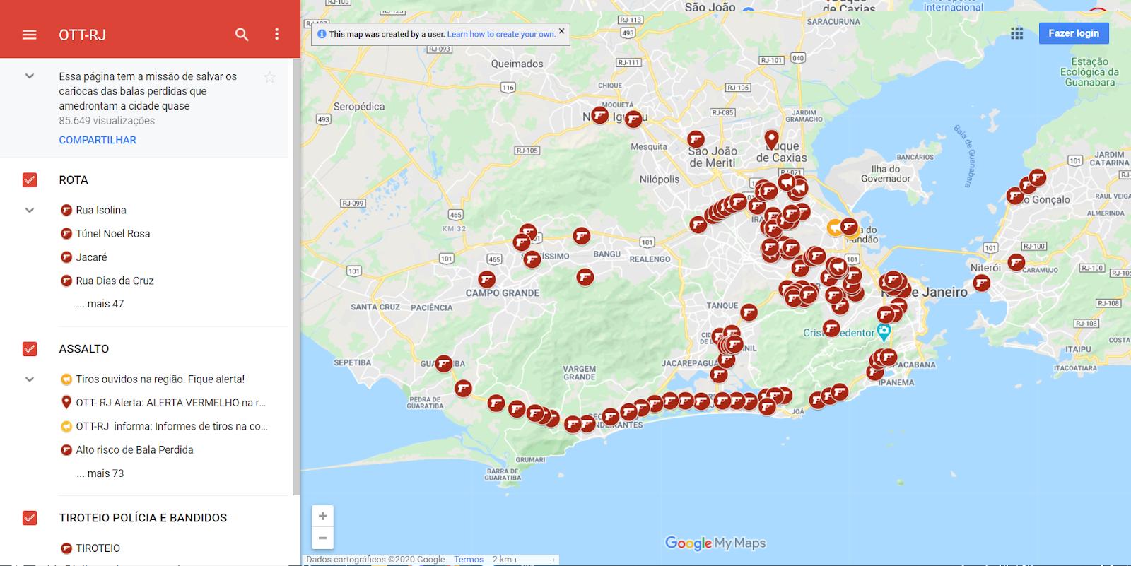 Plataformas mapeiam os disparo de tiros no Rio de Janeiro e em outras cidades brasileiras. (Fonte: Onde Tem Tiroteio)