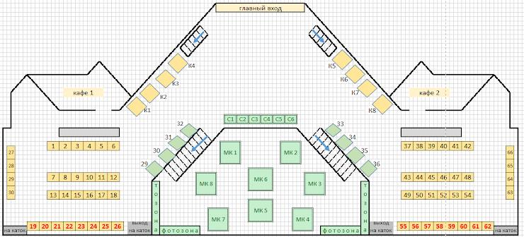 Ярмарка будет располагаться на трех уровнях: первый этаж, балкон (второй этаж) и цоколь (открытая площадка ниже первого этажа с зоной мастер-классов). Цвет места означает цвет скатерти, предусмотренный для этого места. Красный номер стола означает, что это место со столом в аренду