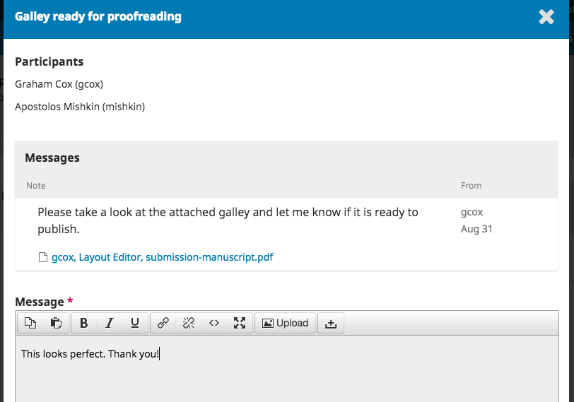 Respond to Galley ready for proofreading message