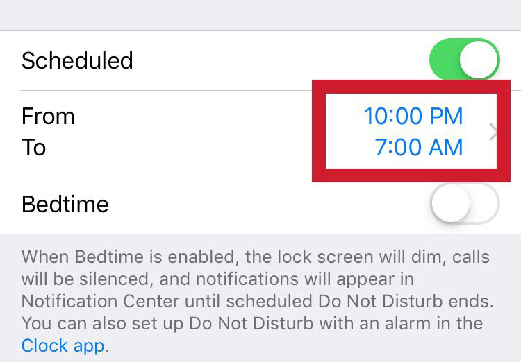 Set the time frame when an iPhone will block calls and notifications