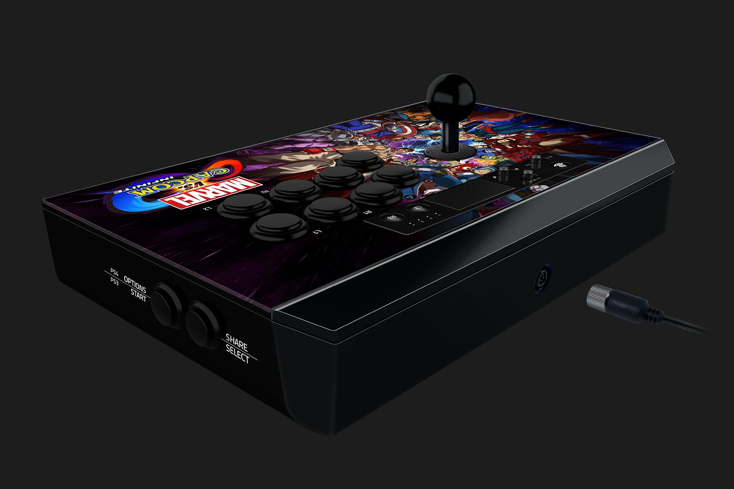 The Razer Panthera, MvCI edition, visible with a lever on one side of the device top and eight buttons on the other.  The edge of the device has the start and select buttons, and switches are visible at the top for Playstation 3 or 4 compatibility modes, as well as switching between left stick, right stick, and directional pad inputs.