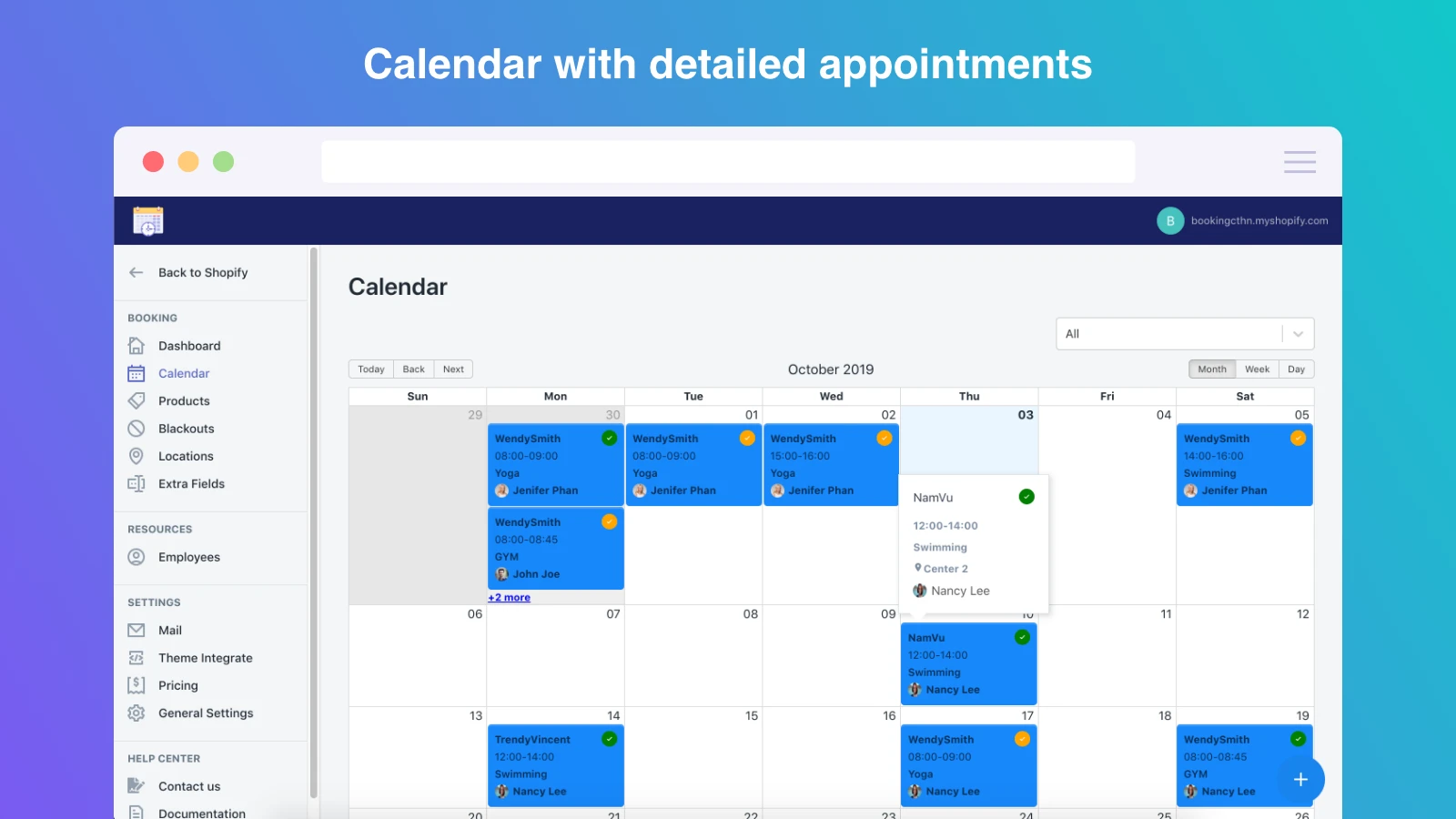 wonderful Shopify calendar app