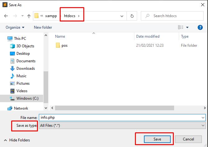 Tampilan format simpan info.php