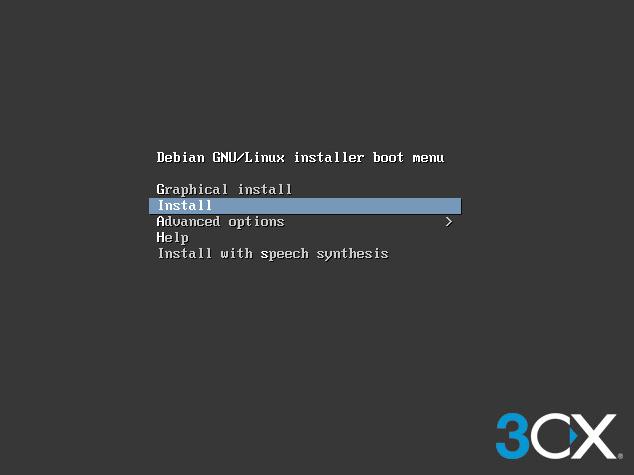 """После начала загрузки с ISO образа появится основное загрузочное меню. Выберите опцию """"Install""""."""