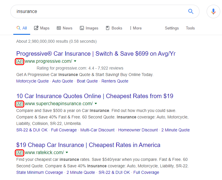 Google Ads is the most prominent SERP feature