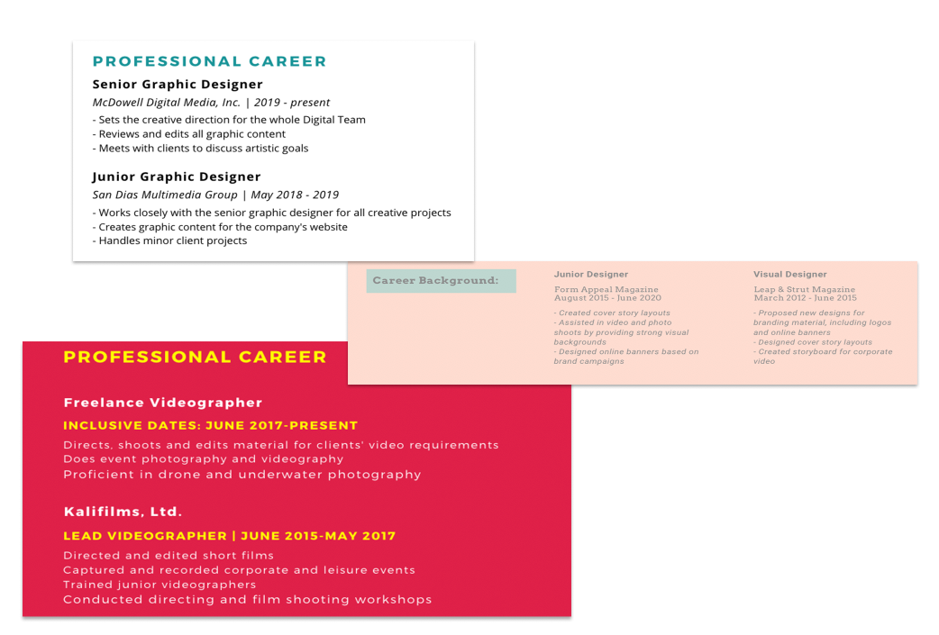 graphic design resume work history