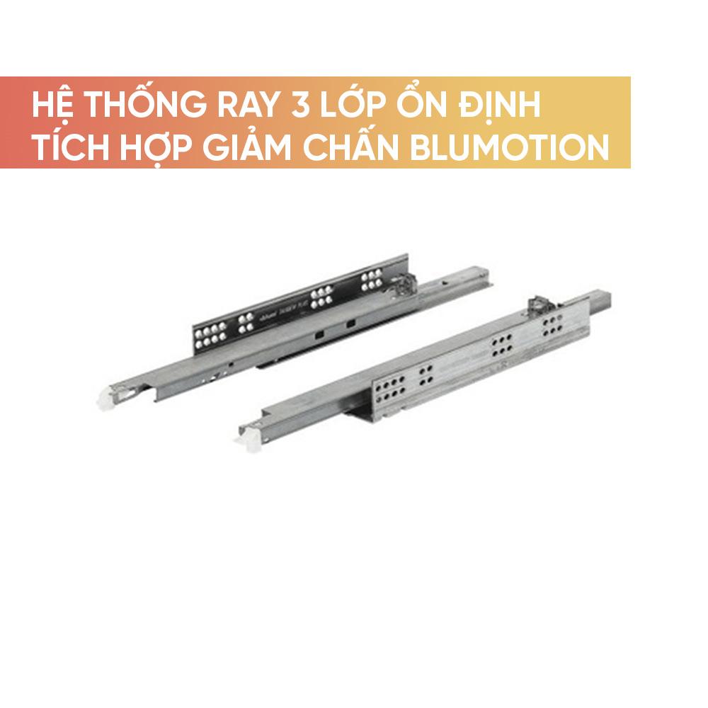 Hệ thống ray 3 lớp ổn định tích hợp giảm chấn Blumotion