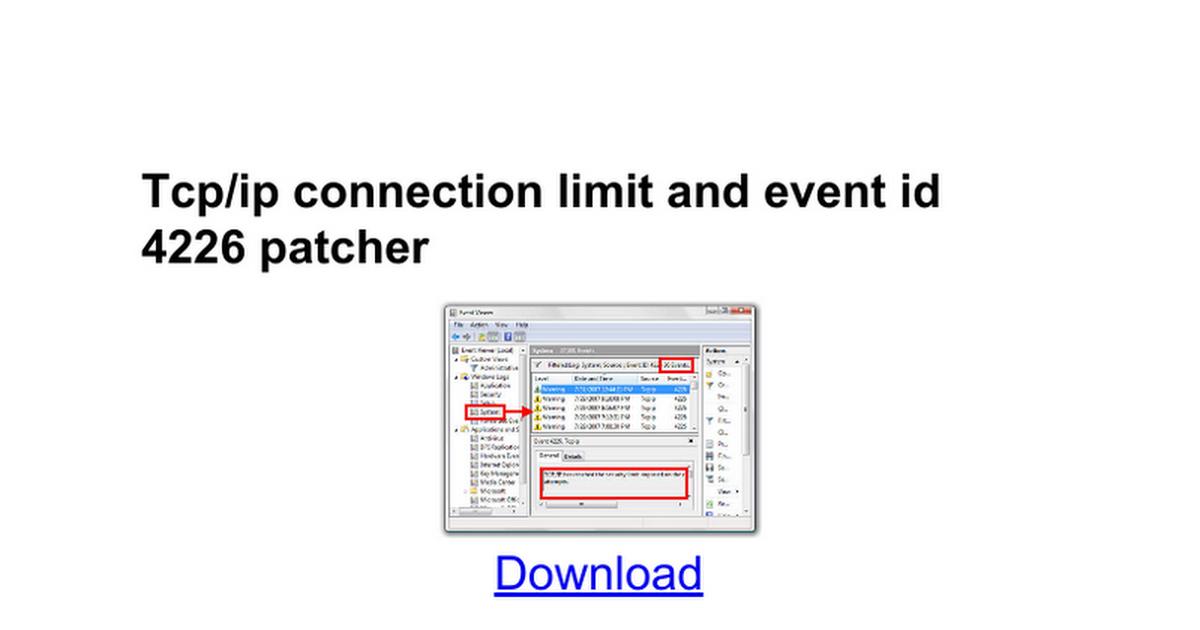 Vista event id 4226 auto patcher