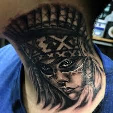 Modern neck Tattoo Designs For Boys