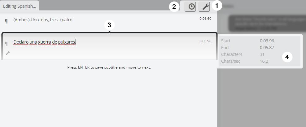Detail screenshot of typing panel in Amara Editor