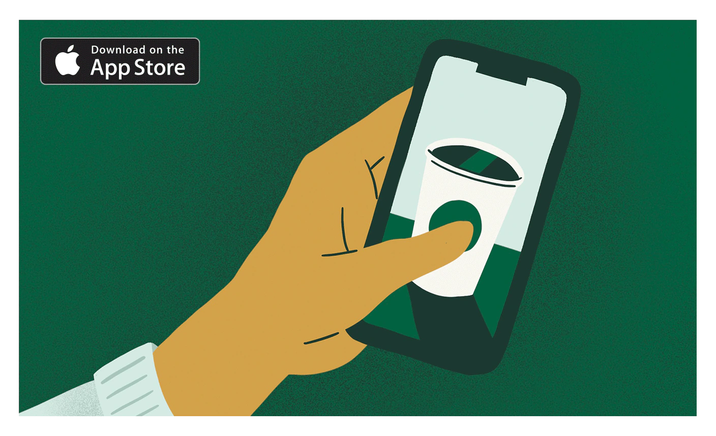 Starbucks app featuring an animated hand holding a phone with an animated Starbucks cup on the screen in front of a green background.