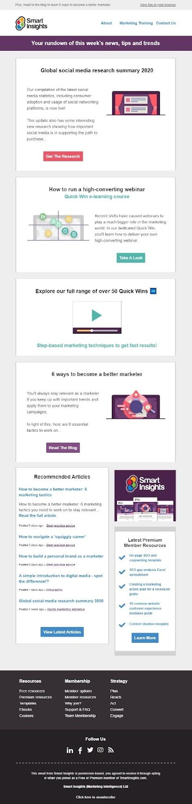 Smart Insights newsletter example