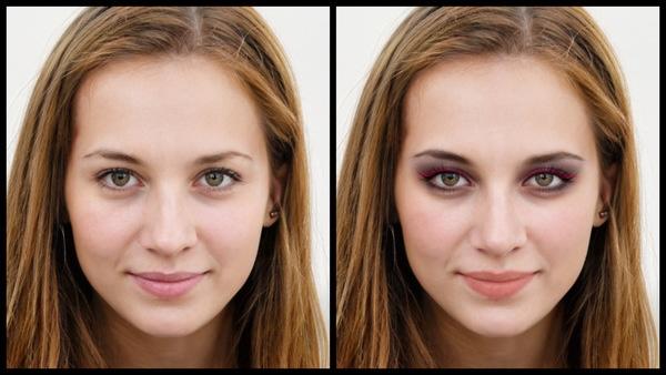 Antes e depois da foto de uma mulher loira onde uma das fotos está com a maquiagem Eve do AirBrush