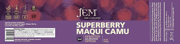 Label, JEM Raw Organic SUPERBERRY MAQUI CAMU Sprouted Almond Spread, 16 oz.