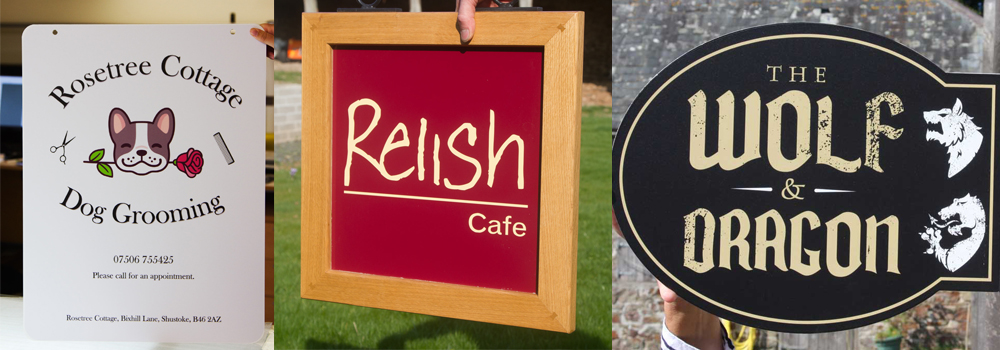Hanging vinyl signs made in a vast variety of styles and shapes and size by The Sign Maker.