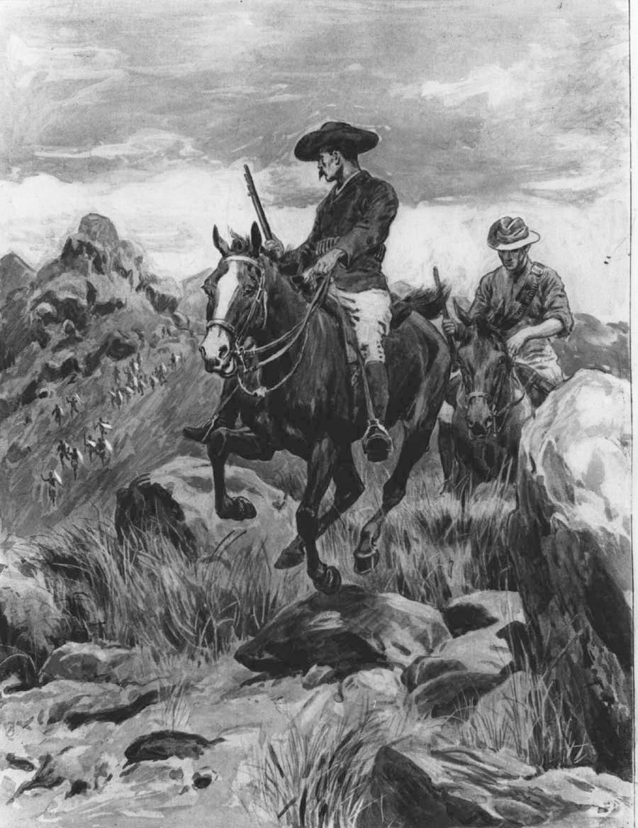 Зображення 4. Фредерік Барнем та Бонар Армстронг тікають у Булавайо після вбивства M'limo. Газета Illustrated London News, 1896 рік. Джерело: wikipedia.org.