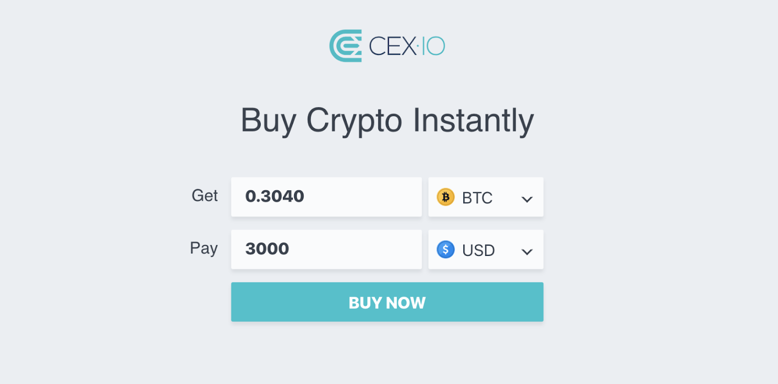 CEX screenshot buy cryptos instantly