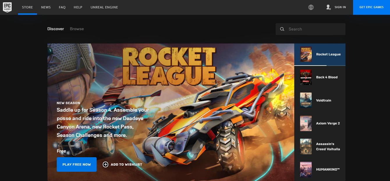 Rocket League on Epic Games