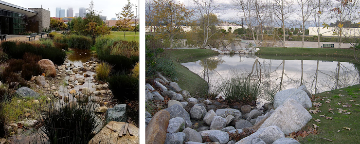 izquierda: Los Angeles State Historic Park, foto a través de CA State Parks.   derecha: Lewis MacAdams Riverfront Park, foto a través de MRCA.