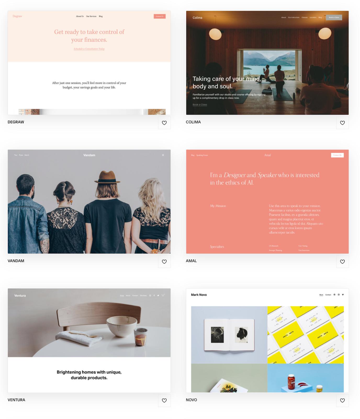 Portfolio Design Templates Squarespace